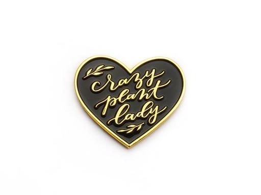 Enamel Pin   Crazy Plant Lady in Black Heart-1