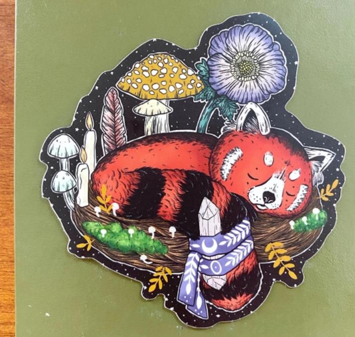 Magical Red Panda | Glossy Vinyl Sticker-1