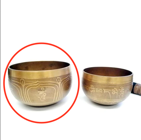 Brass Singing Bowl with Gold Mantra Designs | Large-1