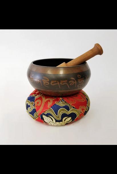 Brass Singing Bowl with Sanskrit Designs