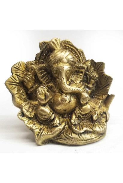 Brass Statue | Blessing Ganesh in Leaf