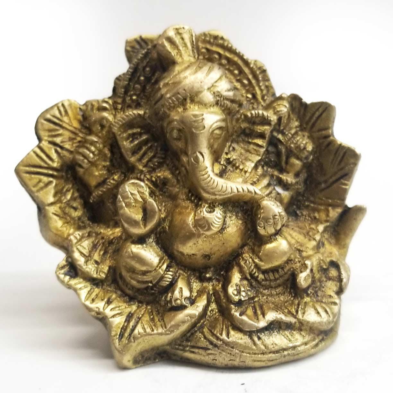 Brass Statue | Blessing Ganesh in Leaf-1