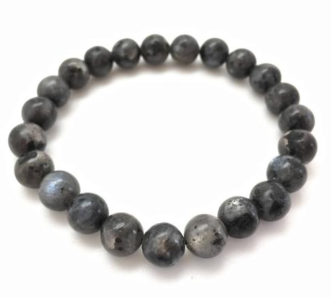 Tumbled Stone Bracelet | Larvakite | 8mm-1