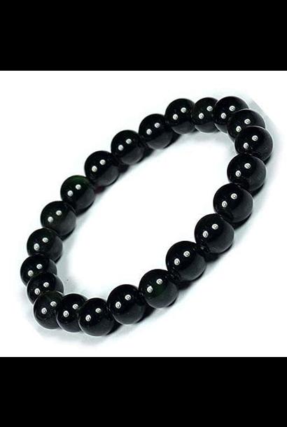 Tumbled Stone Bracelet   Black Obsidian   8mm