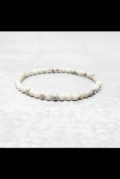 Tumbled Stone Bracelet | White Howlite | 4mm