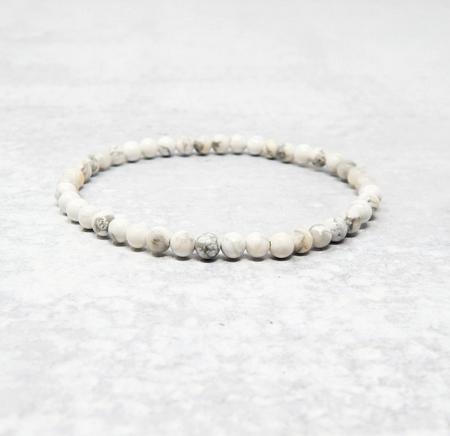 Tumbled Stone Bracelet | White Howlite | 4mm-1