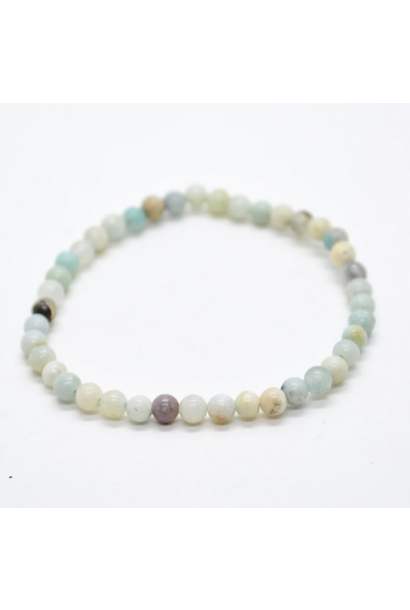 Tumbled Stone Bracelet | Mixed Amazonite | 4mm