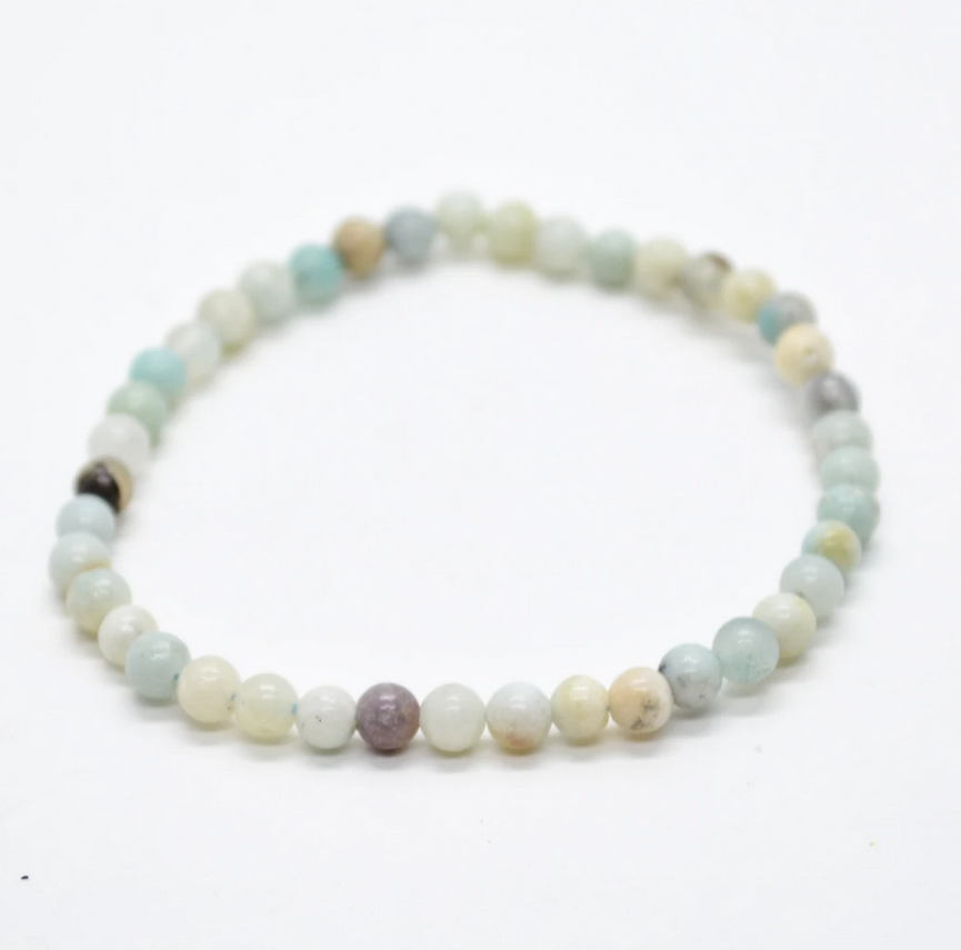 Tumbled Stone Bracelet | Mixed Amazonite | 4mm-1
