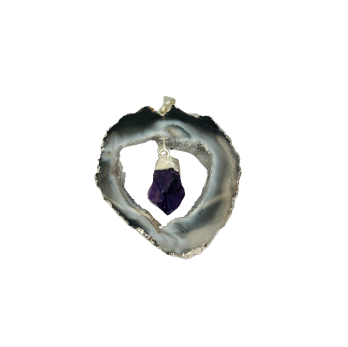 Pendant | Geode Slice + Assorted Crystal in Middle-1