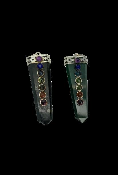 Flat Tusk Crystal Pendant | Assorted Stones
