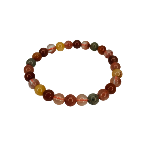 Tumbled Stone Bracelet | Multicolor Rutilated Quartz | 8mm-1