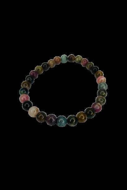 Tumbled Stone Bracelet | Mixed Tourmaline | 7mm