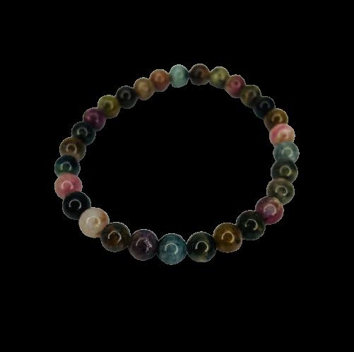 Tumbled Stone Bracelet | Mixed Tourmaline | 7mm-1