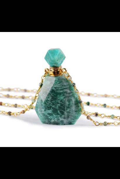 Crystal Perfume Necklace | Polished Amazonite