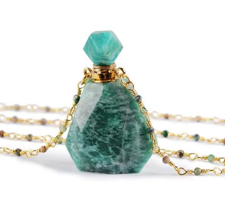 Crystal Perfume Necklace   Polished Amazonite-1
