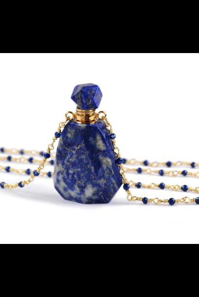 Crystal Perfume Necklace | Polished Lapis Lazuli