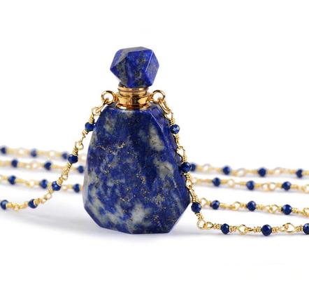Crystal Perfume Necklace | Polished Lapis Lazuli-1