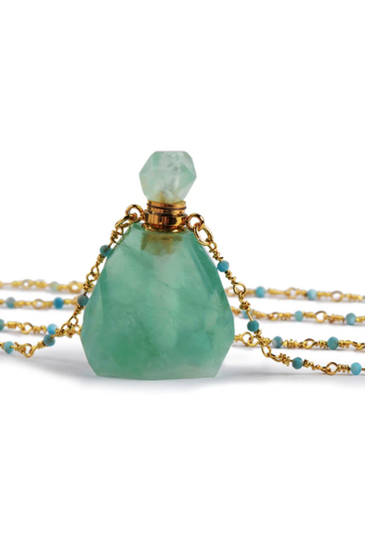 Crystal Perfume Necklace | Polished Green Fluorite