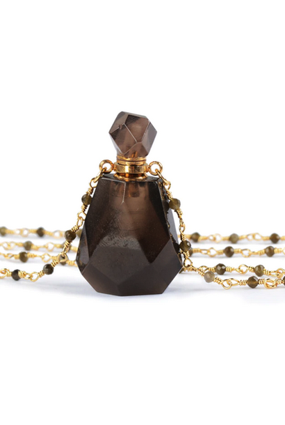 Crystal Perfume Necklace | Polished Smoky Quartz