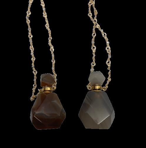 Crystal Perfume Necklace | Polished Onyx Agate-2