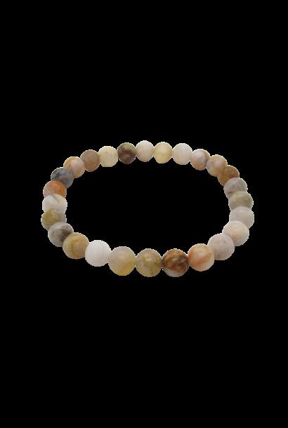 Tumbled Stone Bracelet | Bamboo Leaf Agate | 8mm