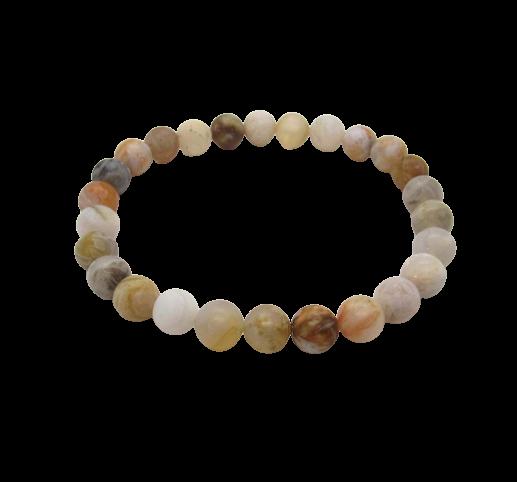Tumbled Stone Bracelet | Bamboo Leaf Agate | 8mm-1