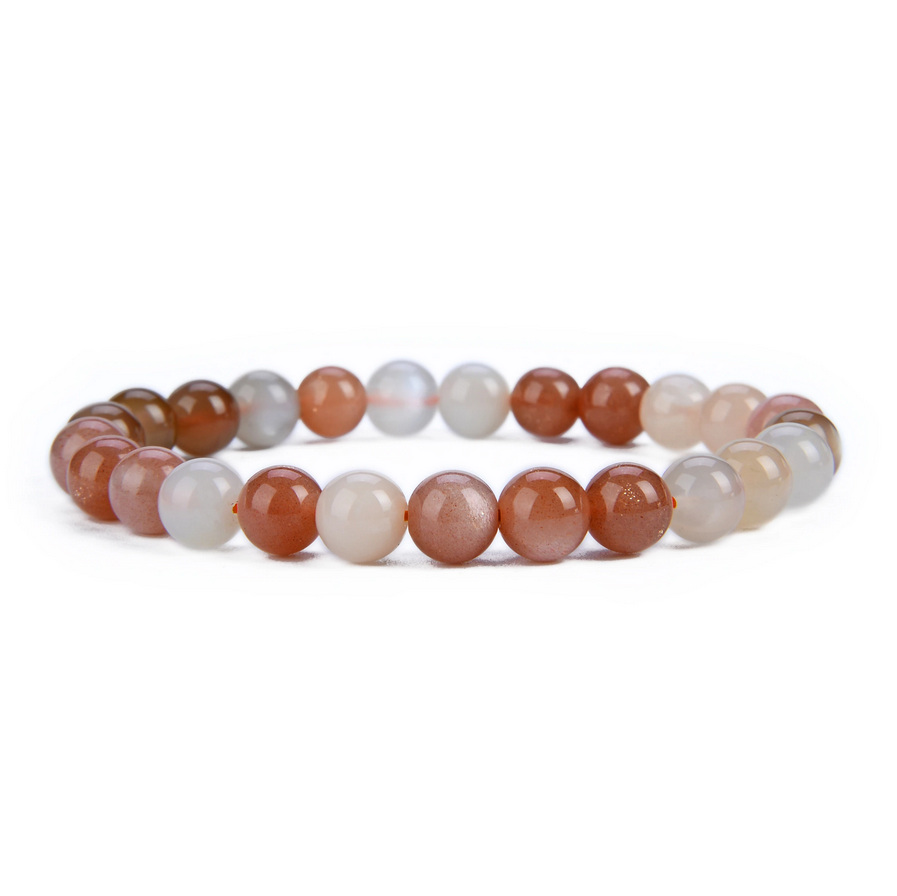 Tumbled Stone Bracelet | Multicolor Moonstone | 8mm-1