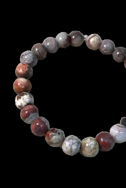 Tumbled Stone Bracelet | Luna Lace Agate | 8mm