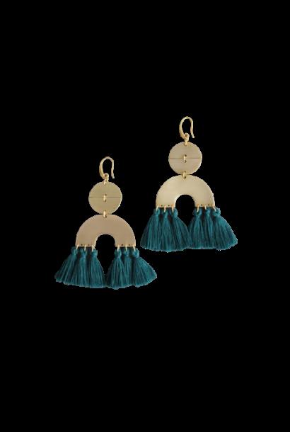 Earrings | Brass Dangle + Dark Green Silk Tassels
