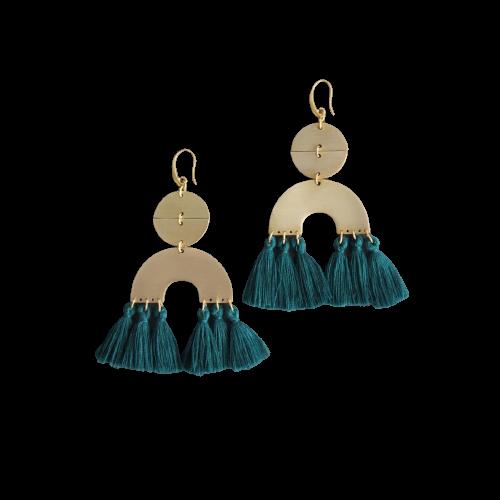 Earrings | Brass Dangle + Dark Green Silk Tassels-1