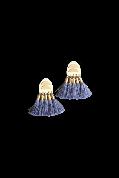Earrings | Brass Posts + Blue Silk Tassels