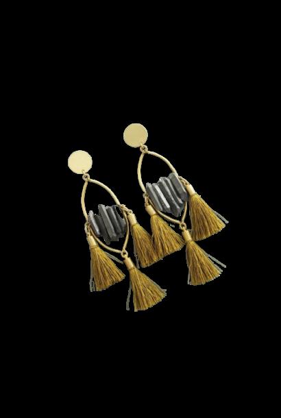 Earrings | Titanium Quartz & Mustard Silk Tassels