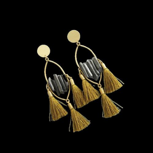 Earrings | Titanium Quartz & Mustard Silk Tassels-1