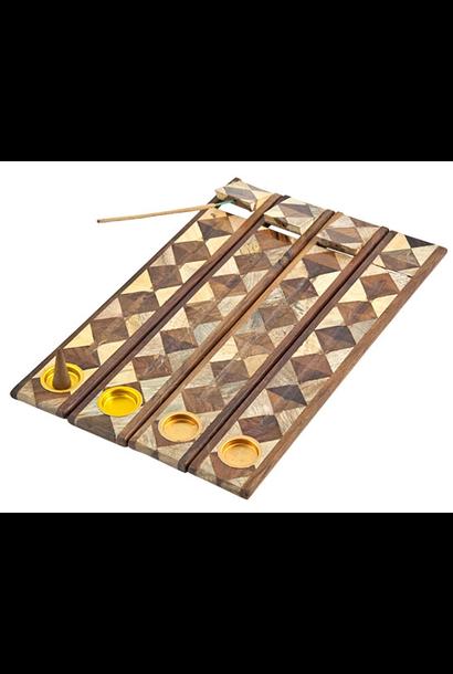 "5199 - Incense Holder - Two-Tone Wooden Burner - For Sticks & Cones - 12""L - 1.75""W"