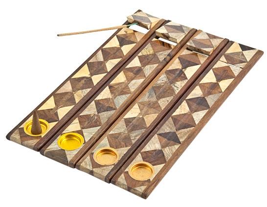 "5199 - Incense Holder - Two-Tone Wooden Burner - For Sticks & Cones - 12""L - 1.75""W-1"