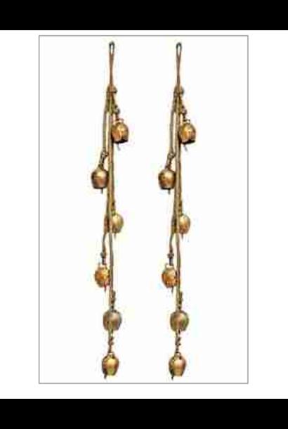 """5196 - Bells on Hemp Cord - 6 Bells - 22""""L"""