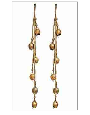 """5196 - Bells on Hemp Cord - 6 Bells - 22""""L-1"""