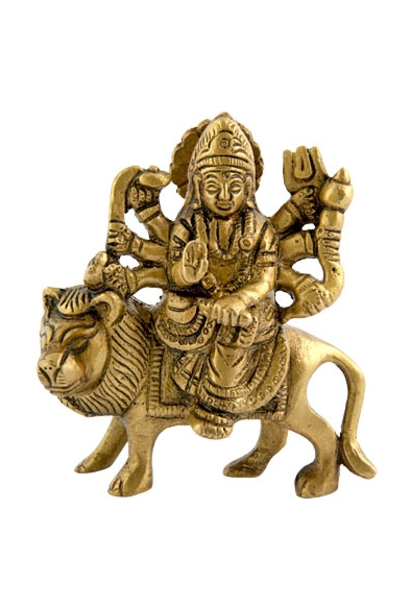 "5197 - Brass Statue - Goddess Durga - 3.5"" - 3.5""W"