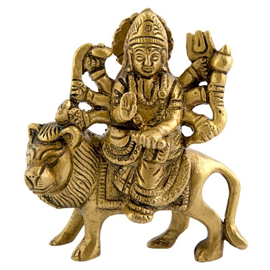 "5197 - Brass Statue - Goddess Durga - 3.5"" - 3.5""W-1"