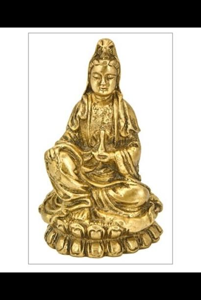 "5198 - Brass Statue - Goddess Kuan Yin - 4""H"
