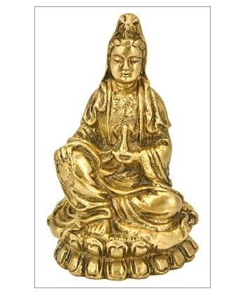 "5198 - Brass Statue - Goddess Kuan Yin - 4""H-1"