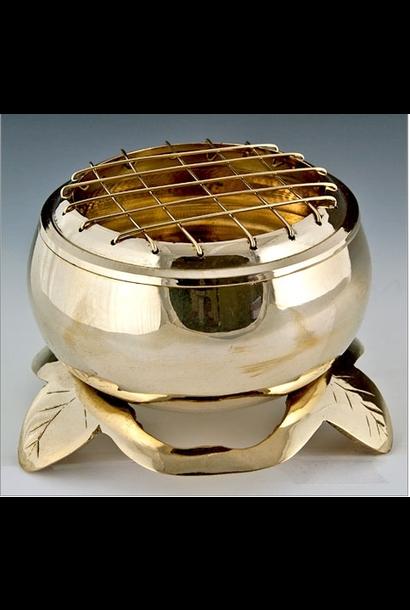 """5195 - Incense Burner - Brass - 4.5""""D x 3.25""""H"""