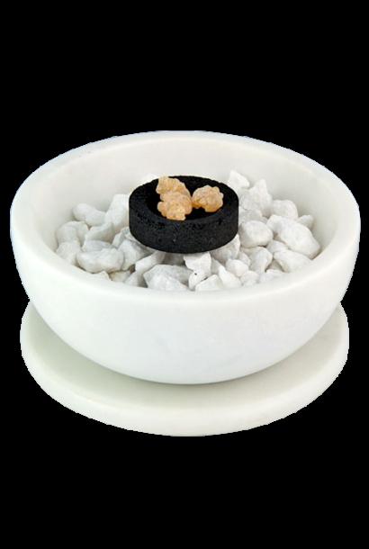 Smudge Bowl & Coaster Set | White Marble