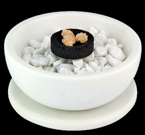 Smudge Bowl & Coaster Set | White Marble-1