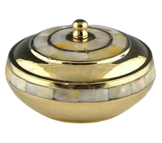 Resin Burner   Brass Dish w/ Mother of Pearl Lid-1