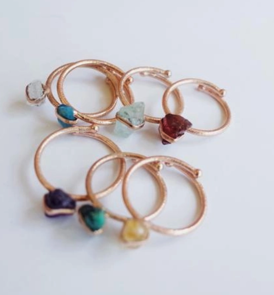 Raw Healing Stone Ring | Assorted Crystals-1