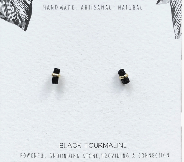 Wire Wrapped Raw Stone Studs | Assorted Crystals-2
