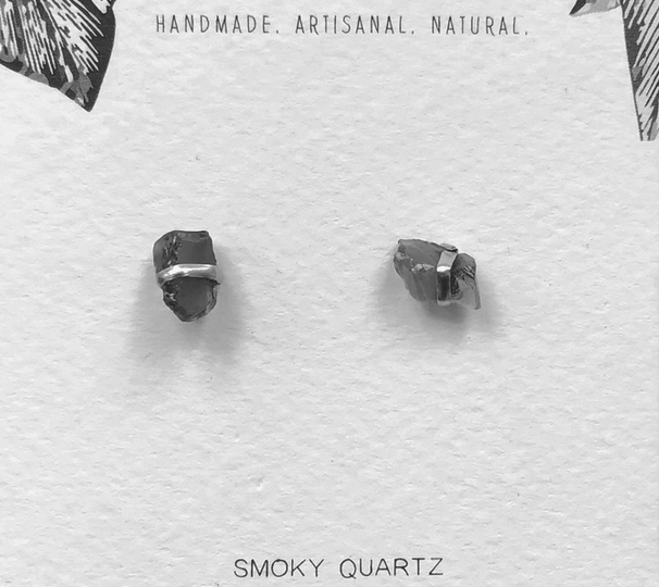 Wire Wrapped Raw Stone Studs | Assorted Crystals-6