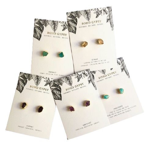 Single Raw Stone Studs   Assorted Crystals-2