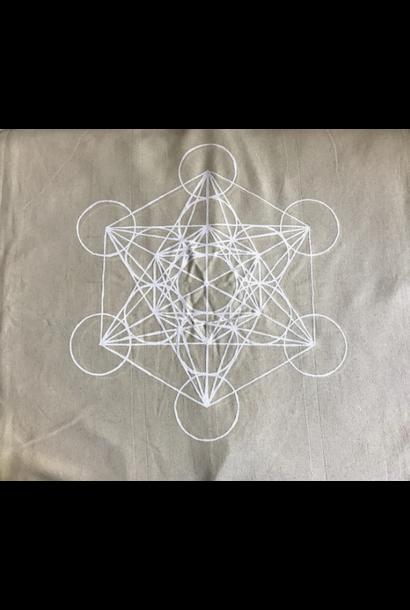 5249 - Crystal Grid Cloth - XL Metatron's Cube - White Ink